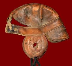 The H.G. Noyes 1917 football helmet.