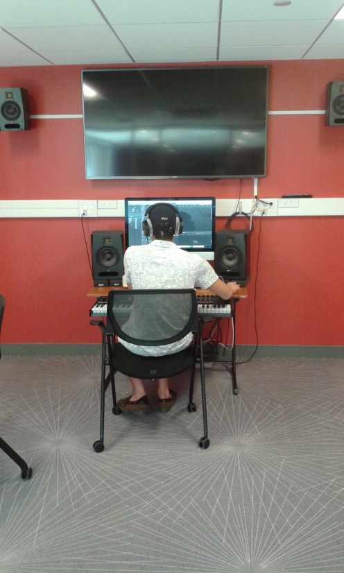 A student works on a project in the Media Lab