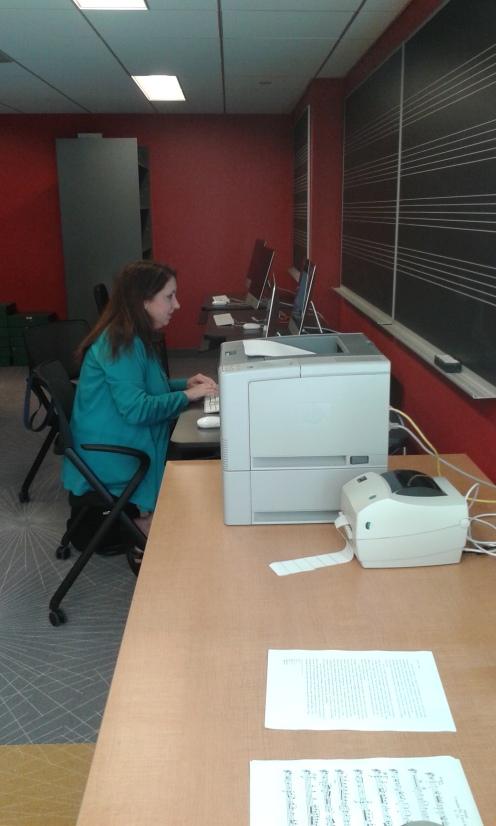 Violin instructor Jodi Hagen in the new Music Library