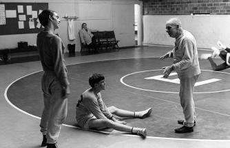 Wrestling practice in Thompson Cage, 1966. Photo credit: Bradford Herzog